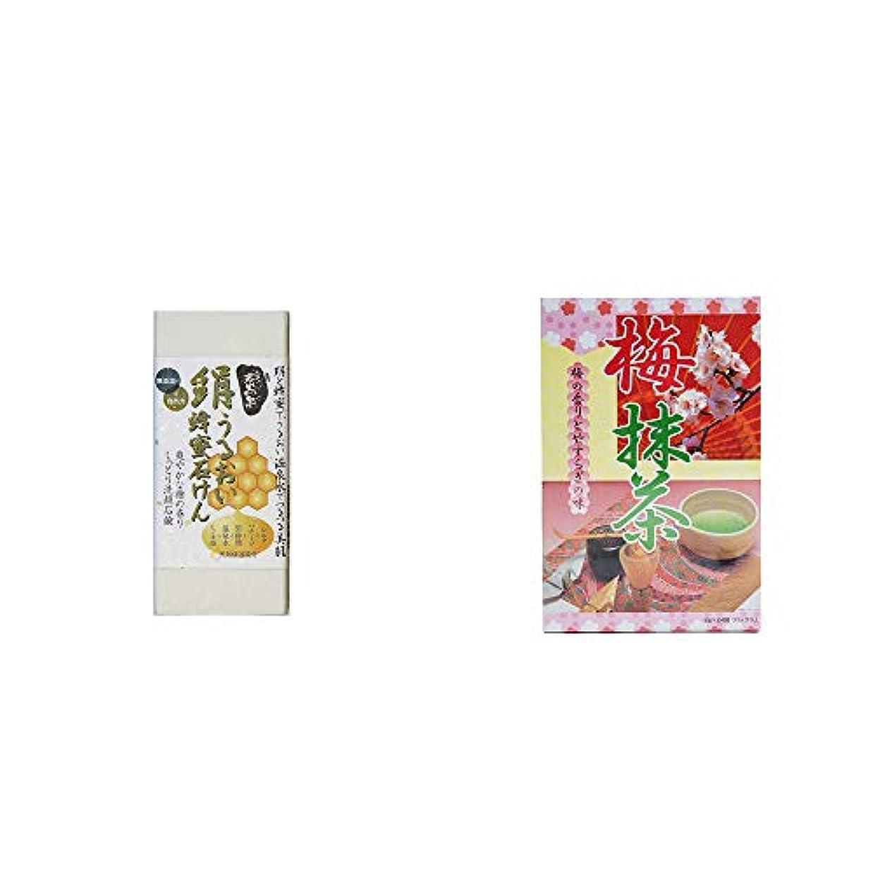 発疹回転する小麦[2点セット] ひのき炭黒泉 絹うるおい蜂蜜石けん(75g×2)?梅抹茶[大](24袋)