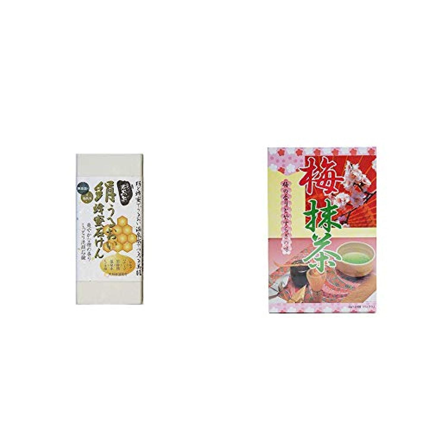 幸運な竜巻必需品[2点セット] ひのき炭黒泉 絹うるおい蜂蜜石けん(75g×2)?梅抹茶[大](24袋)