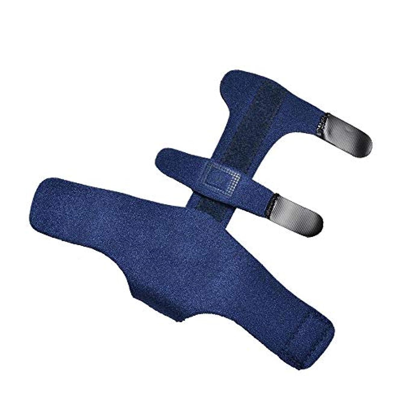 震え手足抽出ZYL-YL 指固定スリーブ指節クリップアルミニウム板指固定補正ベルト手首の指が固定 (色 : 青, Edition : Right)