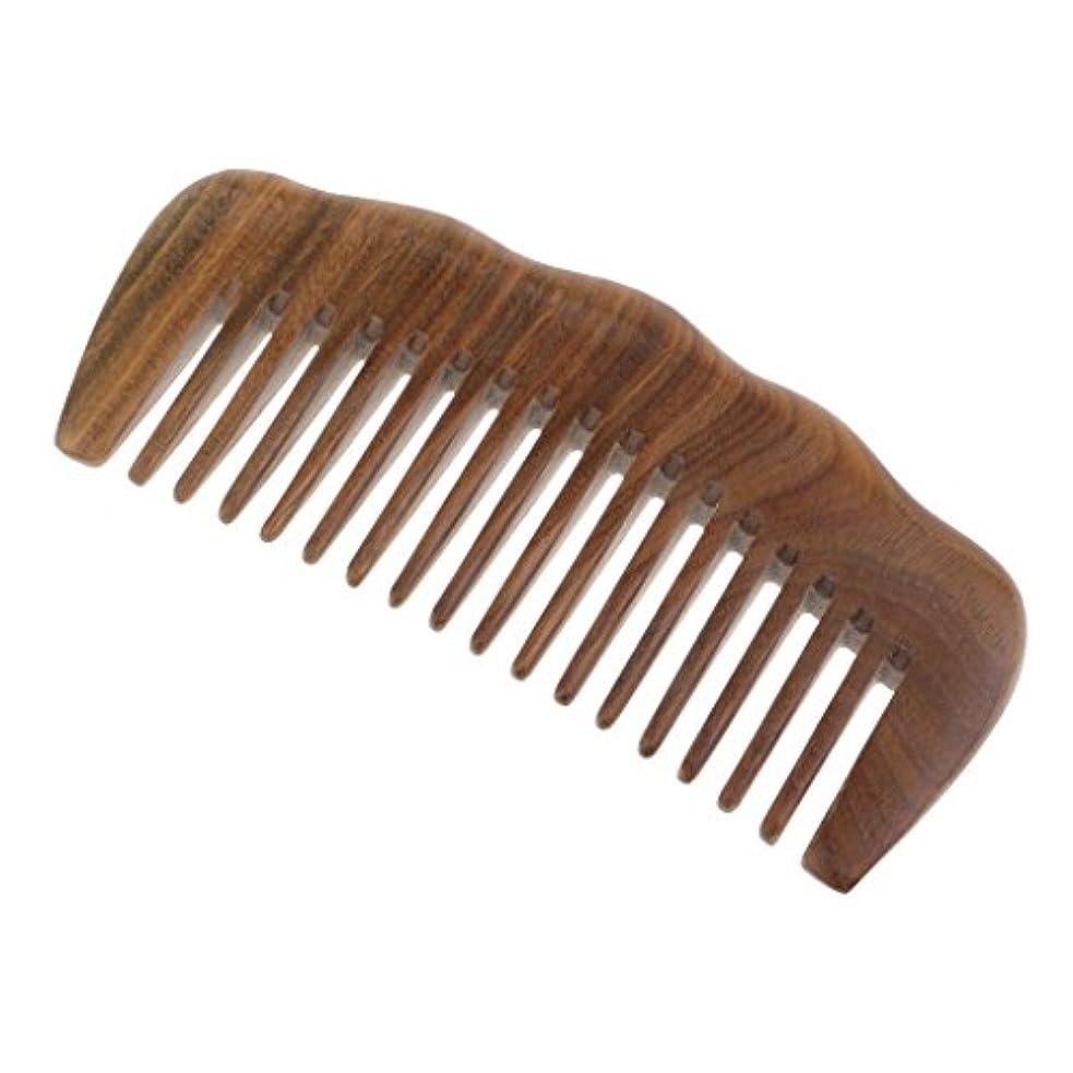 膨らみ迷惑シャイニングToygogo 緑のサンダルウッドの毛の櫛-巻き毛のための広い歯の木製のもつれの櫛-静的な自然な香りの木材の櫛