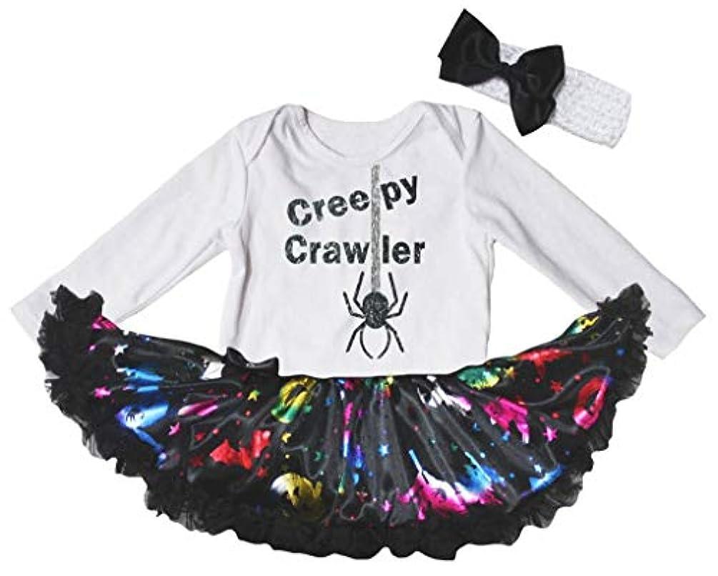 カバーぐったりバースト[キッズコーナー] ハロウィン Creepy Crawler ホワイト 長袖 パンプキン 子供コスチューム、子供のチュチュ、ベビー服、女の子のワンピースドレス Nb-18m (ホワイト, Large) [並行輸入品]