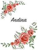 Andina: Personalized Notebook with Flowers and First Name ? Floral Cover (Red Rose Blooms). College Ruled (Narrow Lined) Journal for School Notes, Diary Writing, Journaling. Composition Book Size