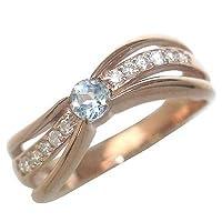 (3月誕生石) K18ピンクゴールドアクアマリン・ダイヤモンドリング(婚約指輪・エンゲージリング) #5