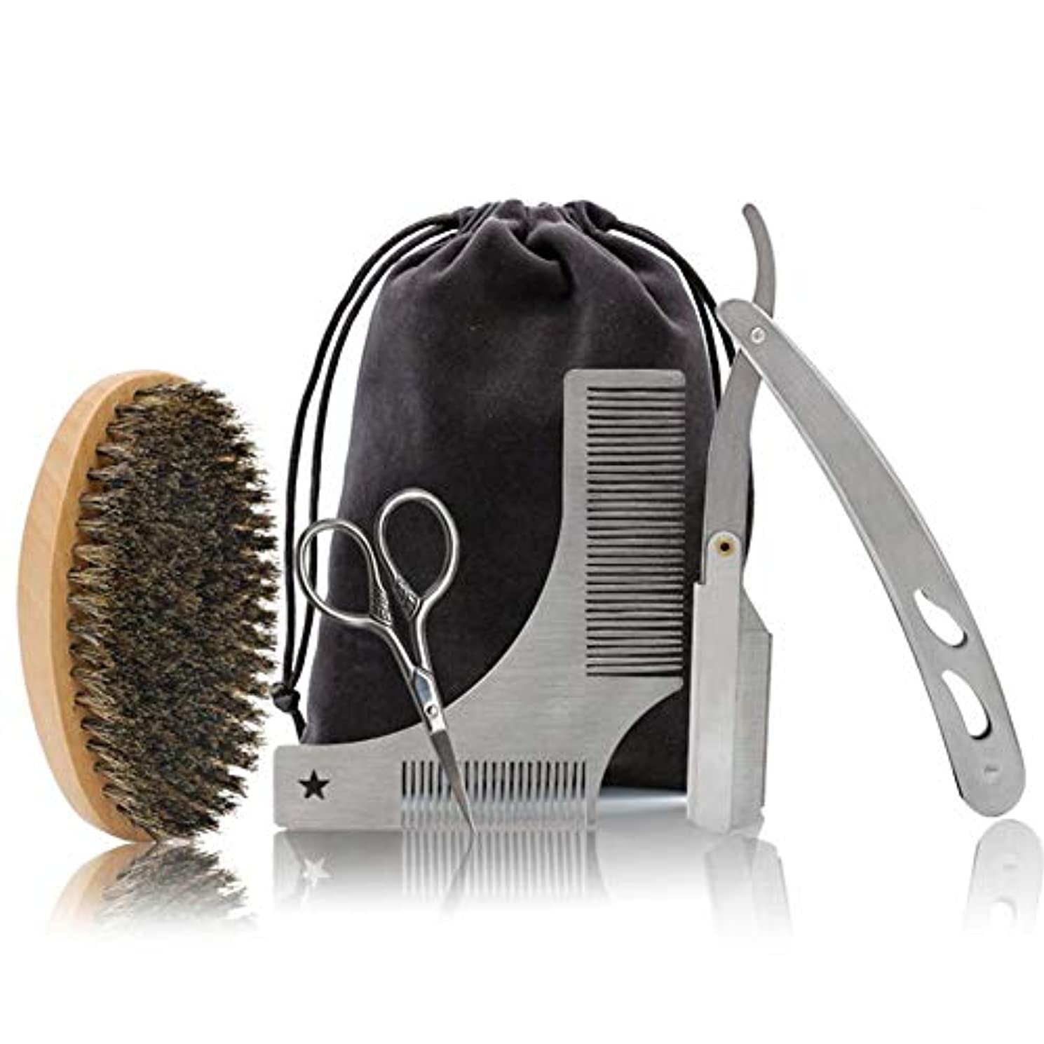 クスコ最終的に職人男性のヒゲトリムセット3 - くし個ステンレススチールはさみビアードシェーバー髭の成長とビアードトリムスタイルや髭ケアギフトボックスに適し