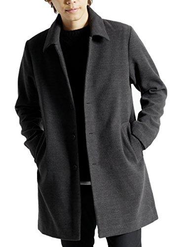 (モノマート) MONO-MART メルトン 起毛 コート チェスターコート ステンカラーコート 暖かい ロング丈 アウター チャコール【ステンカラー】 Lサイズ