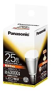 パナソニック LED電球 口金直径17mm 電球25W形相当 電球色相当(6.0W) 小型電球・下方向タイプ 密閉形器具対応 LDA6LE17