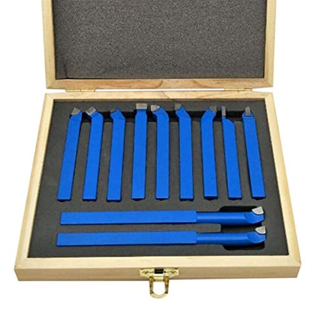 コンピューター後方魂Saikogoods 金属旋盤ツーリング溶接タイプ旋盤ビット炭化タングステンのヒントに設定された切削11pcs超硬チップチップソーカッターツールビット 青