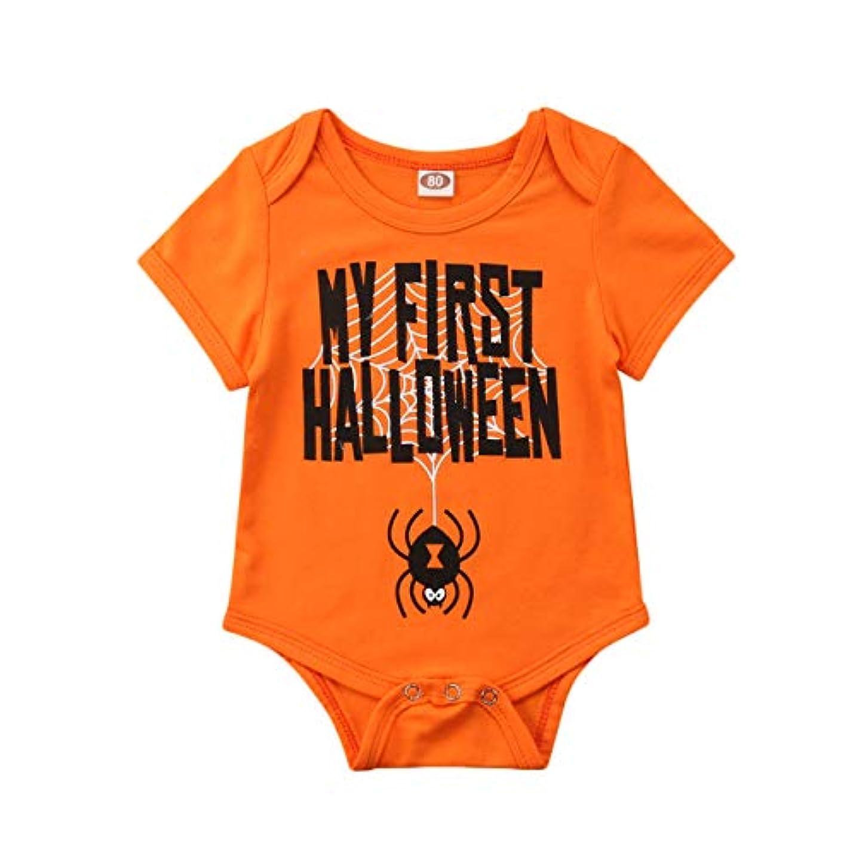 仲人マルコポーロ飼いならすハロウィーン子供用新生児の赤ちゃん半袖連体衣Tシャツロンパースボディスーツ (オレンジ, 70)