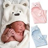 おくるみ 赤ちゃん 新生児 出産祝い 男の子 女の子 ふわふわ クマ スワドル アフガン (ブルー)
