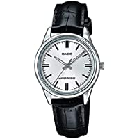 Casio Women's LTP-V005L-7A Silver Dial Genuine Leather Band Watch