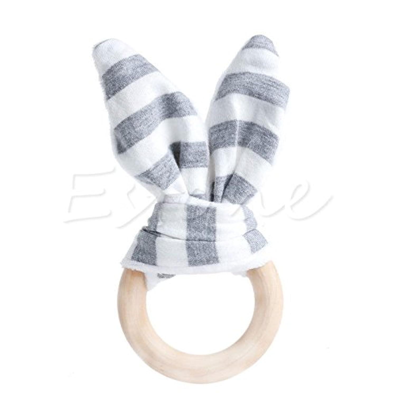 グレー安全木製Natural Baby Teething Ring ChewieキュートTeether Bunny Sensory Toy