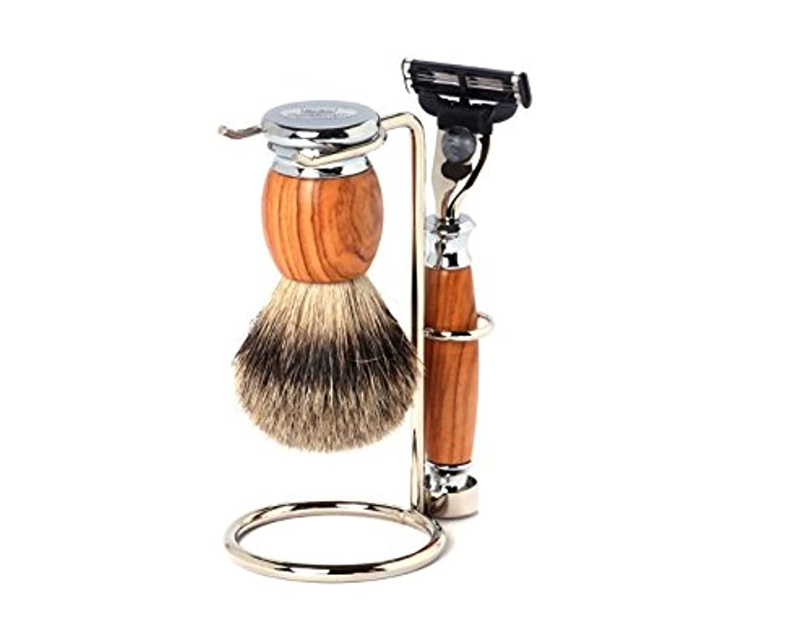 期間テクニカル豊富Shaving Set Olive, Mach3 razor, silvertip brush and stand - Hans Baier