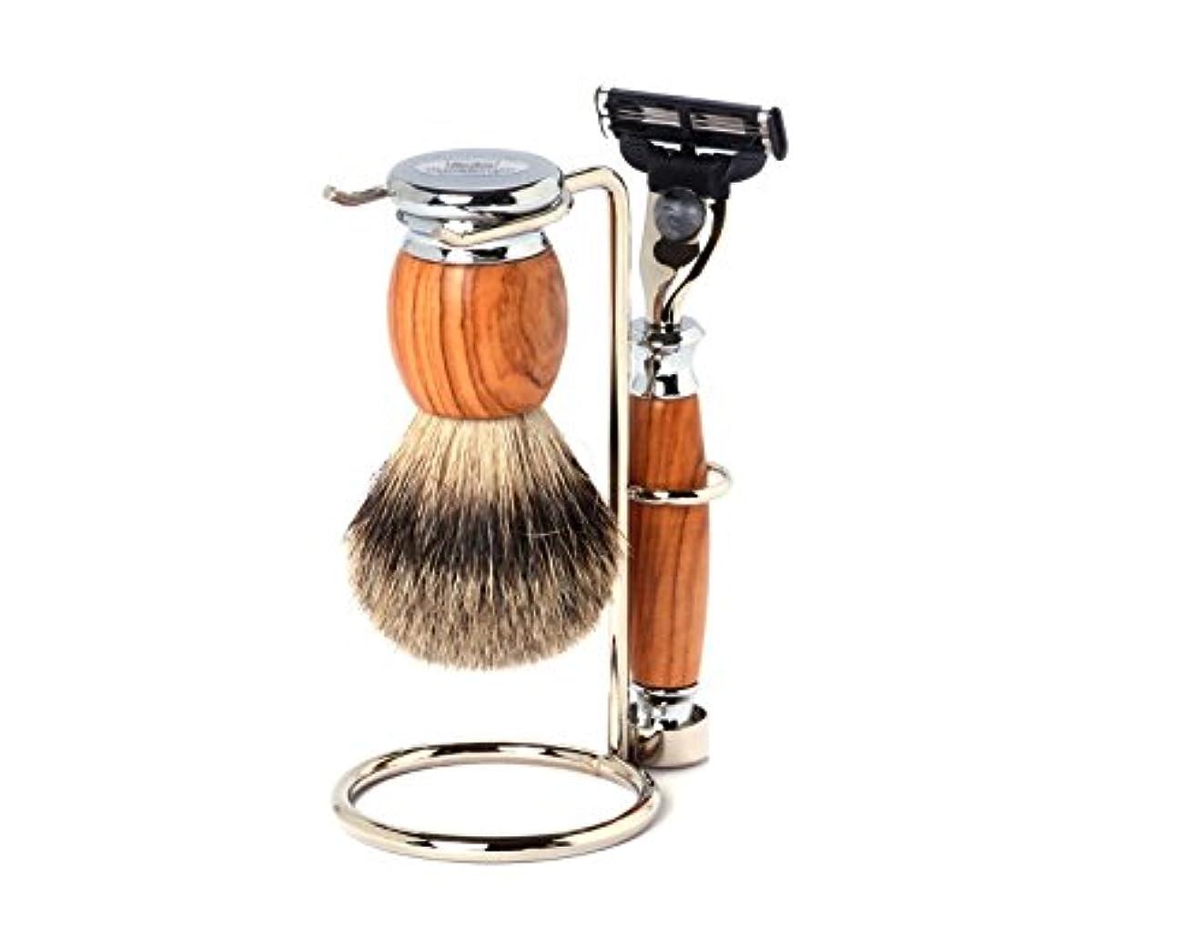 氏ピンポイント規範Shaving Set Olive, Mach3 razor, silvertip brush and stand - Hans Baier