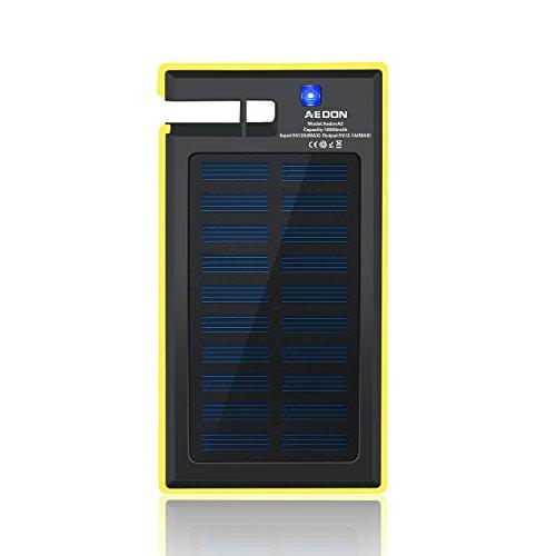 Aedon モバイルバッテリー スマホスタンド機能付10,000mAh ソーラーチャージャー