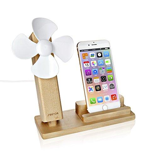 木製スマホスタンド・携帯ホルダー USB扇風機・USBフアンを付け 静音設計・角度調整可能 木製iPhone スタンド・ウッドiPhone ドック iPhone 7/7 Plus/iPhone 6/6S/6S Plus, Samsung Galaxy S8/S7/S7 Edge, Google Nexus 7/6/5等対応 (イェロー)