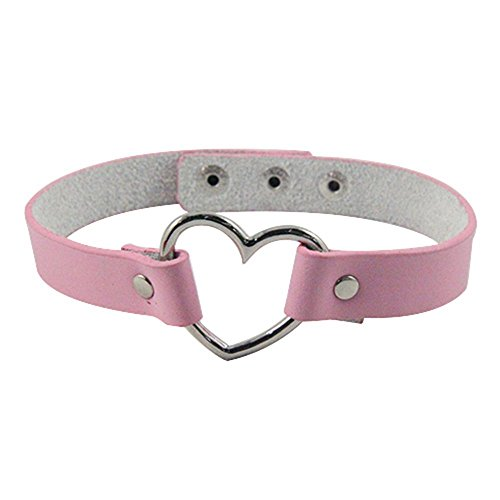 [해외]전면 하트 링 가죽 벨트 초커 펑크 계 가죽 하트 초커 길이 조정 가능 가죽/Front Heart Ring Genuine Leather Belt Choker Punk Leather Heart Choker Length Adjustable Leather