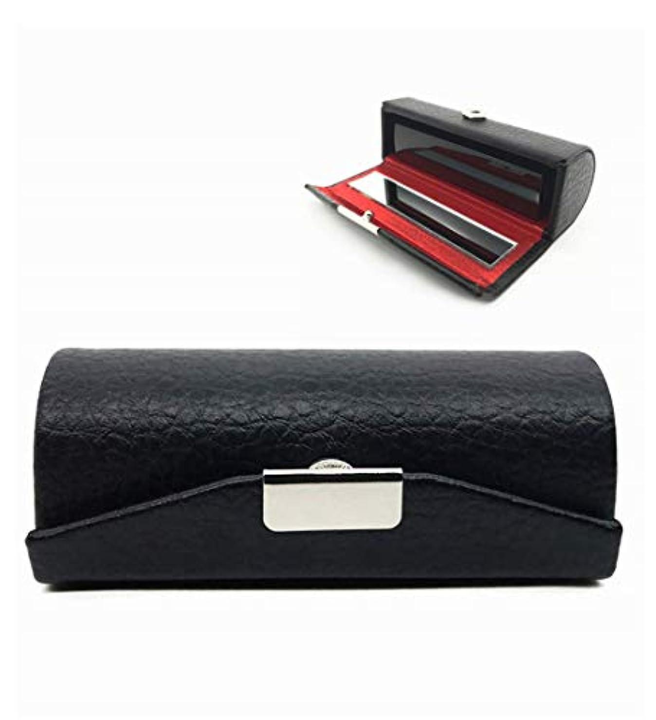誕生日チャンスモナリザHOMEE リップケース ミラー付き 口紅 リップクリーム 収納 持ち運び便利 レザー ブラック