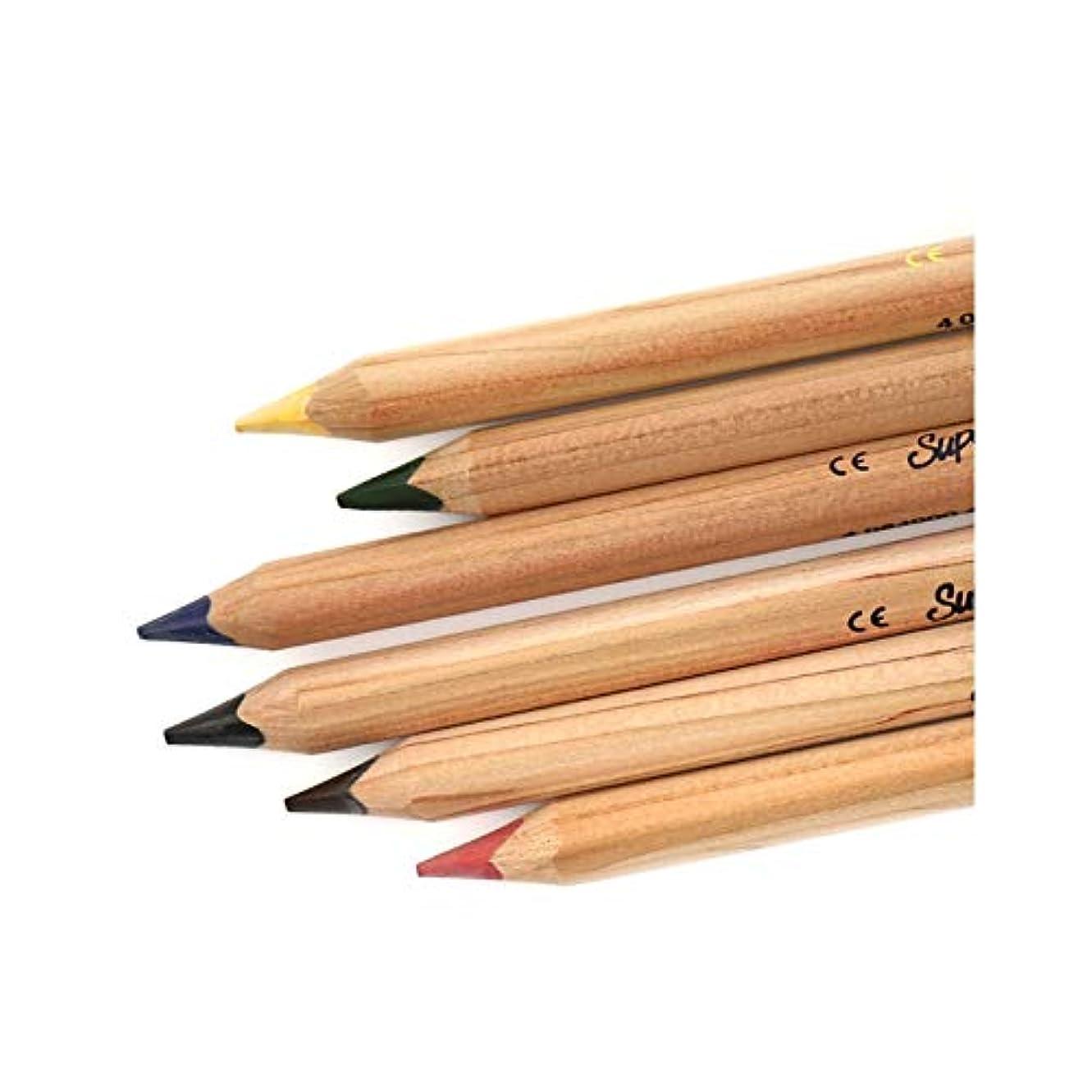 粒中に名目上のJinnuotong ペイントブラシ、6色の太い太い棒3ティーチングポールカラーリード、着色の強い色の塗装木製色ブラシセット(6色、18 * 1 cm) 執筆および絵画は滑らかです (Color : Brown, Size : 18*1cm)