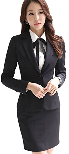 (激情女郎)JIQINGNVLANG レディース セットスーツ OL オフィス 就活 ビジネス 通勤 リクルート 事務服 スカートスーツ ブラック 3XL