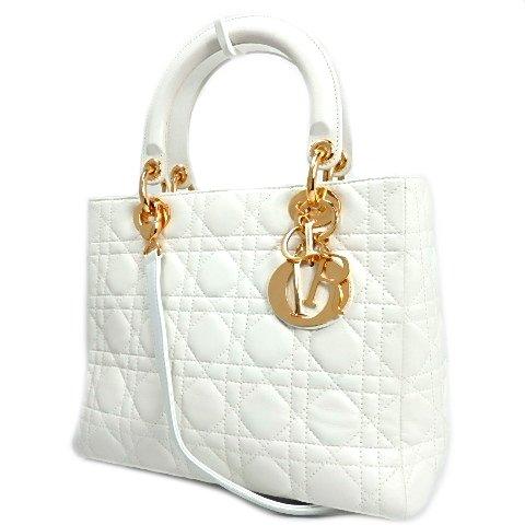 Christian Dior(クリスチャン・ディオール) レディディオール カナージュ 2WAY ハンド・ショルダーバッグ レザー GP金具 ホワイト 白 ゴールド金具 32-BN-0027 17090107【中古】【アラモード】