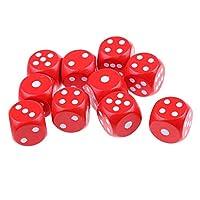 Gaoominy 10 ボードゲーム用6面D6ダイス、木製 - レッド