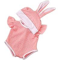 Dovewill 可愛い ウサギ帽子付属 ドット ジャンプスーツ 衣類 18インチ アメリカンガールドール適用 装飾