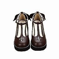 ★姫洋服★ロリータ靴 革靴 蝶結び(踵) 悪魔と天使 天使の十字架(メンツ) 悪魔の翼(踵) 女子用 生徒靴 ブーツ ラウンド靴 5cm底