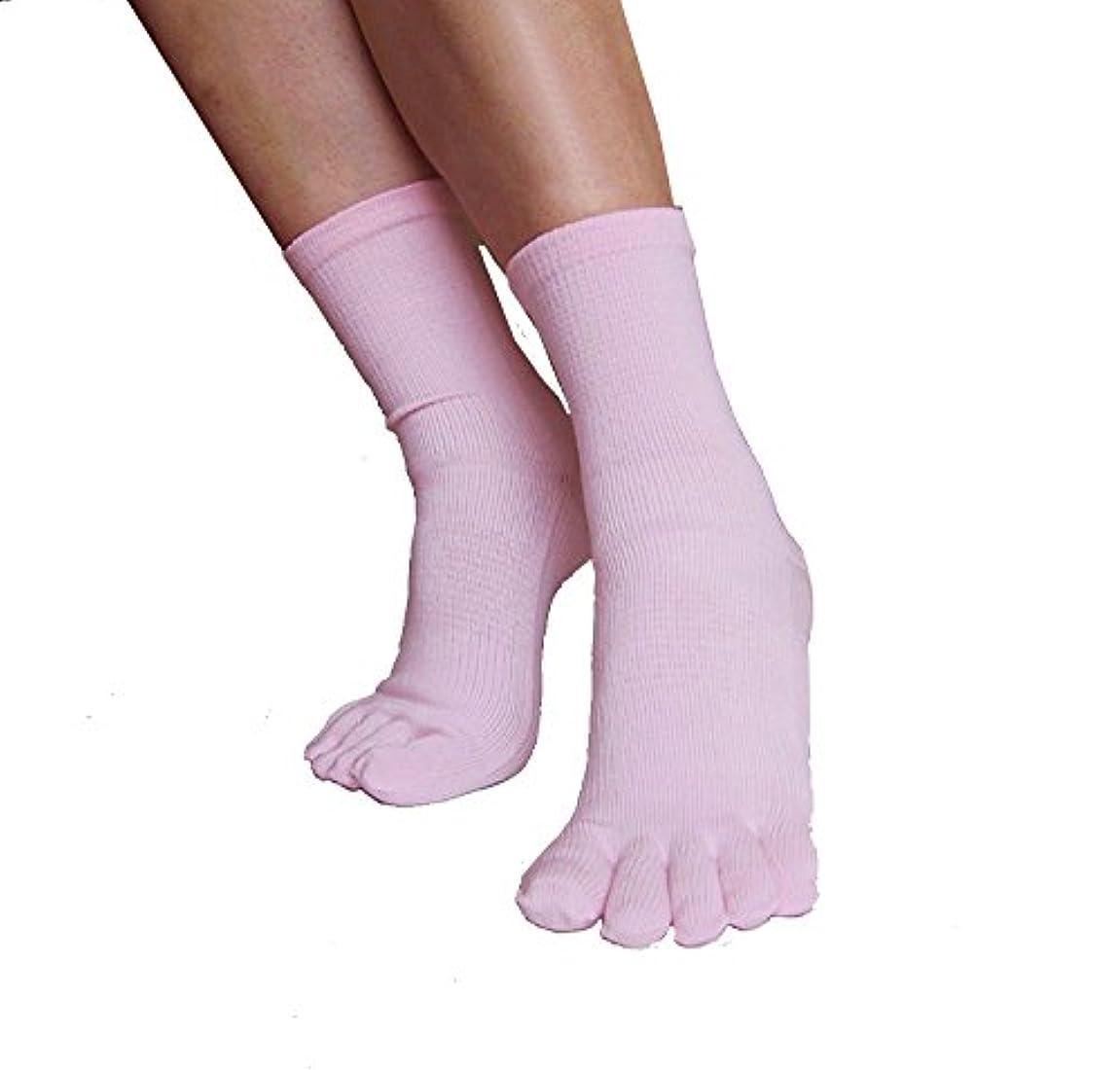 予測子全体に中世の外反母趾対策 5本指靴下 綿タイプ ピンク