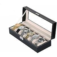 Revesun Leather 6 Grid Watch Display Case Box Jewelry Storage Organizer