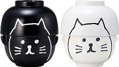 【まんぷくシリーズ】 黒ねこと白ねこの 汁椀茶碗セット ペア SAN2244