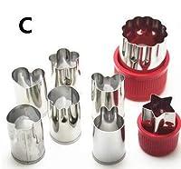 8本/セットステンレス鋼パズルフルーツ野菜カッター金型花の形ケーキ装飾用品キッチンツールアクセサリー:C