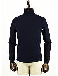 GIRELLI BRUNI ジレッリブルーニ メンズ コットン タートルネック 長袖 Tシャツ G011CO/BLUEBLACK/52 (ダークネイビー)