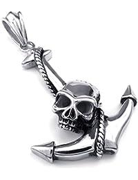 [テメゴ ジュエリー]TEMEGO Jewelry メンズステンレススチール製のヴィンテージゴシックスカルアンカーペンダントネックレス、ブラックシルバー[インポート]