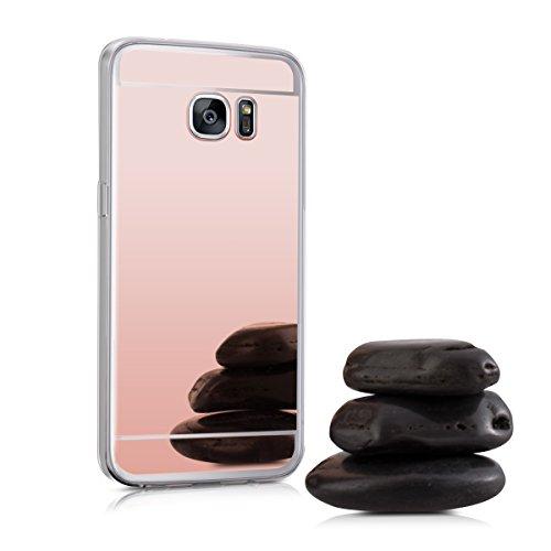 kwmobile ミラーケース Samsung Galaxy S7 edge TPU 用 シリコンケーススマホカバー, 保護ケース ピンクゴールド