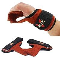 パワーグリップ トレーニンググローブ 筋トレ 左右セット 本革使用 懸垂 握力補助 (ブラウン)