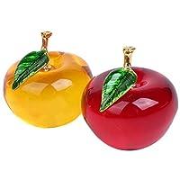 [ルボナリエ] りんご型 水晶 クリスタル アップル ペーパーウェイト 風水インテリア 置物 2色セット (レッド+イエロー)