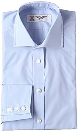 (ターンブル&アッサー)TURNBULL & ASSER コットンポプリン リージェントカラー ドレスシャツ MSHI053-Z1005 Sax サックスブルー 14H