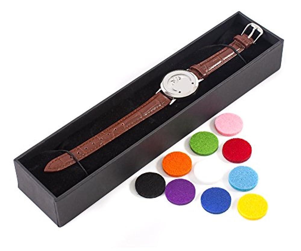 禁止するもリネンMystic Moments   Mystical Moon   Aromatherapy Oil Diffuser Bracelet with Adjustable Brown Leather Strap