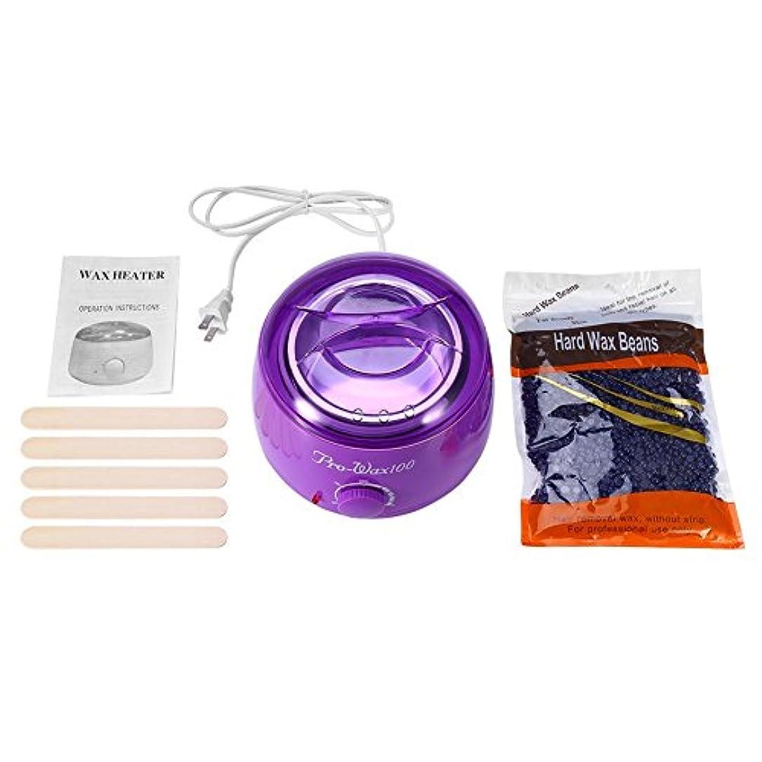 副麦芽ファイアル500MLパープルワックスマシン+ 300Gラベンダーワックスビーンズ+ 5本の木の棒(紫色)
