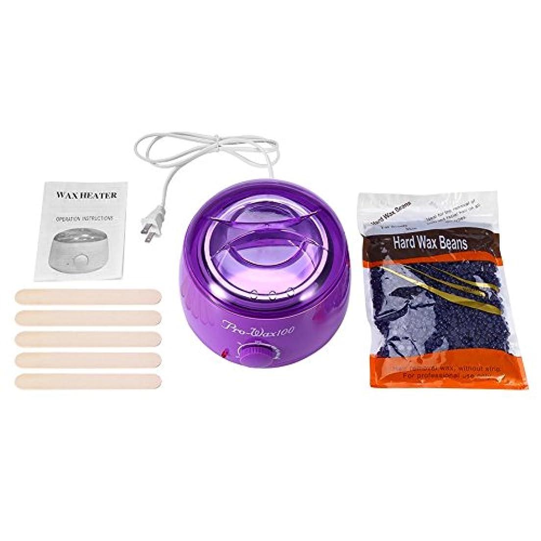 ノーブルプリーツ背景500MLパープルワックスマシン+ 300Gラベンダーワックスビーンズ+ 5本の木の棒(紫色)