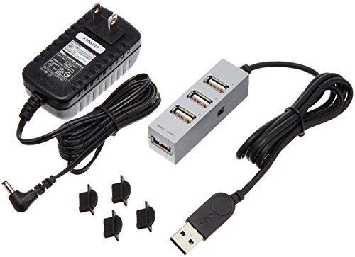 エレコム USBハブ 2.0対応 4ポート ACアダプタ付 1.0m シルバー U2H-TZ410SSV