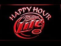 Miller Lite Happy Hour LED看板 ネオンサイン ライト 電飾 広告用標識 W30cm x H20cm レッド