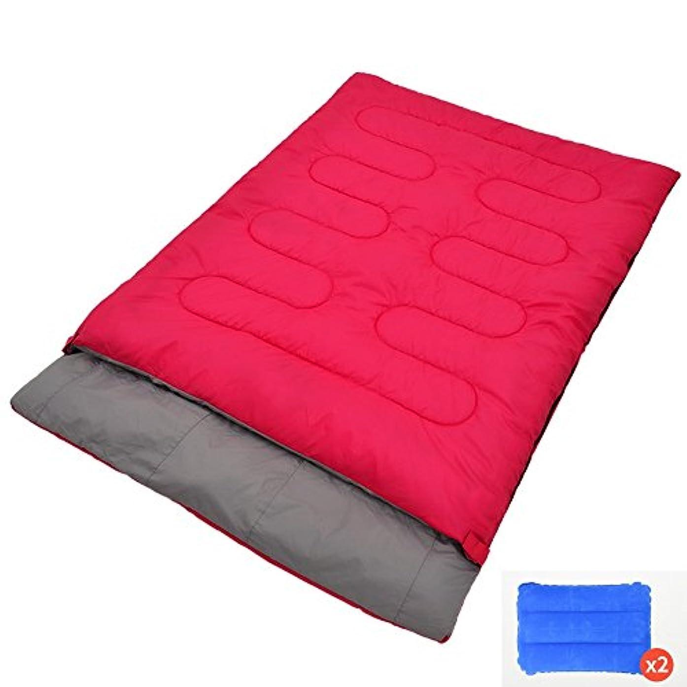 光沢のある汚物均等にLJHA shuidai エンベロープ寝袋/2枕/ダブルラバーズ寝袋/屋外キャンプハイキングコットン長方形の寝袋(190 + 25)* 145センチメートル (色 : Red, サイズ さいず : 3.0KG)