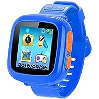 ゲームSmart Watch forキッズ、子供用スマートウォッチカメラ、子供の腕時計歩数計時計スマートウォッチ男の子女の子ギフト、HDタッチ画面、超低放射ゲームWatch。(ブルー) ブルー