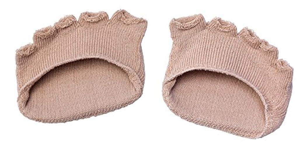鎖中間叙情的な綿混サラリ洗える足まめパッド(1足組) ベージュ