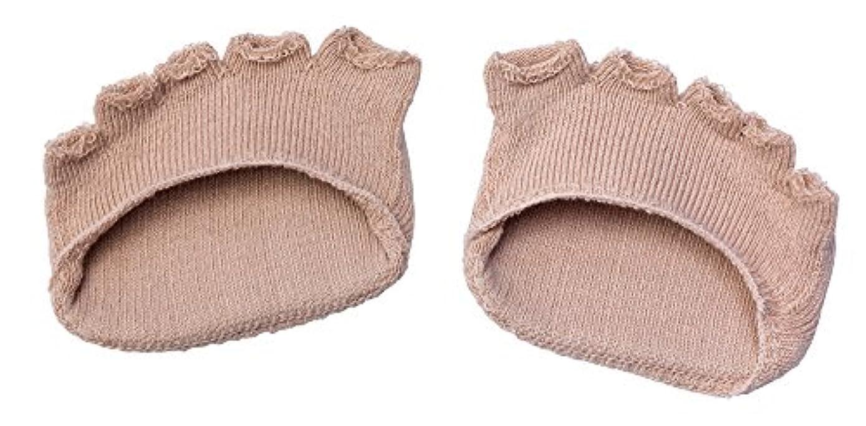 綿混サラリ洗える足まめパッド(1足組) ベージュ
