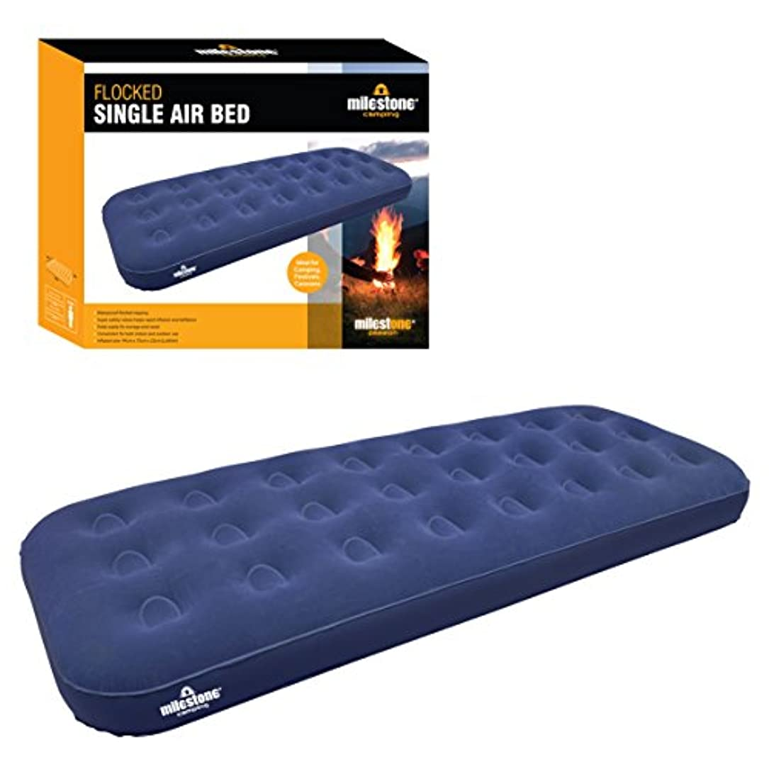 苦行ブランド名曲がったMilestone Camping Single Flocked Airbed - Blue