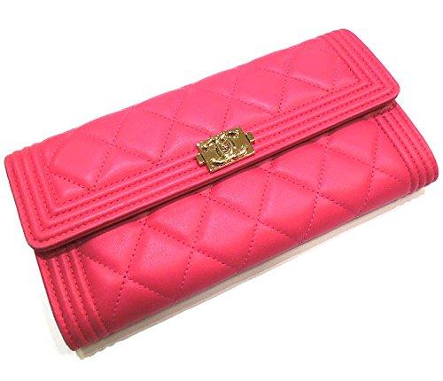 CHANEL シャネル 二つ折り長財布 ボーイシャネル ココマーク ラムスキン ピンク×ゴールド金具 A80286【中古】