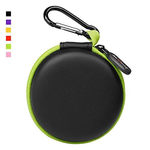 HiGoingイヤホンケース キャリングケース 多機能保護ハードケース イヤホン収納ボックス カラビナ付き  小物整理 Bluetooth 有線ヘッドセット イヤホンMP3 用 Airpods Boseなどのイヤホン対応 (グリーン)