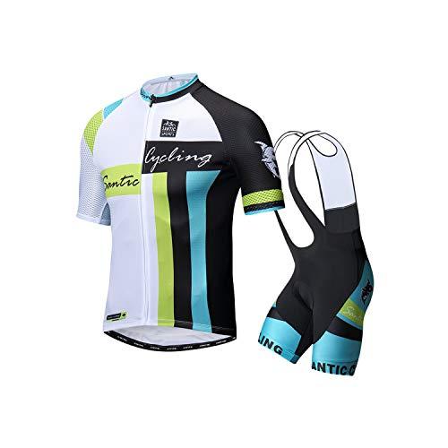 Santic メンズ サイクルジャージ 上下セット 半袖 サイクルウェア 4Dパッド付き サイクリングパンツ 通気性 吸汗速乾 サイクリングウェアS-XXXL (ホワイト, XL)